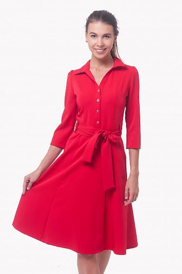 Платье красное с пуговицами впереди и длинным рукавом Деловая женская одежда