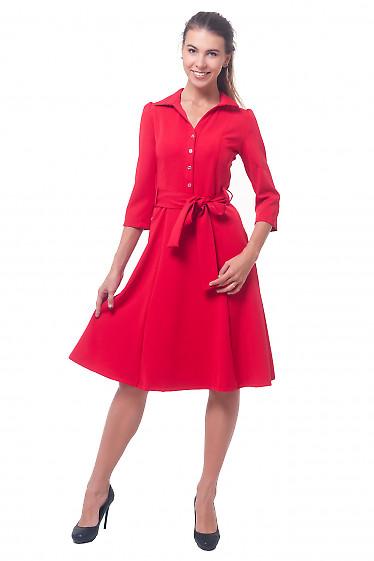 Купить платье красное с длинным рукавом Деловая женская одежда