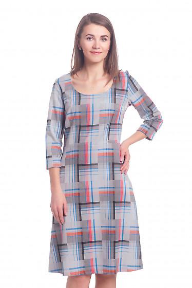 Платье серое в голубую клетку Деловая женская одежда