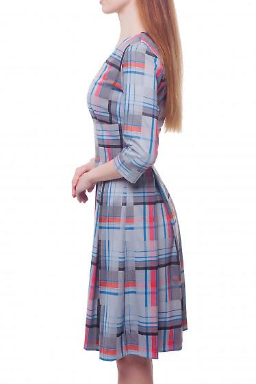 Купить серое платье в оранжевую полоску Деловая женская одежда фото