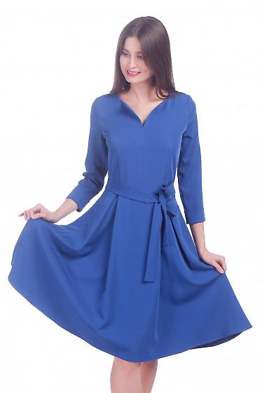 Фото Платье синее пышное с поясом Деловая женская одежда