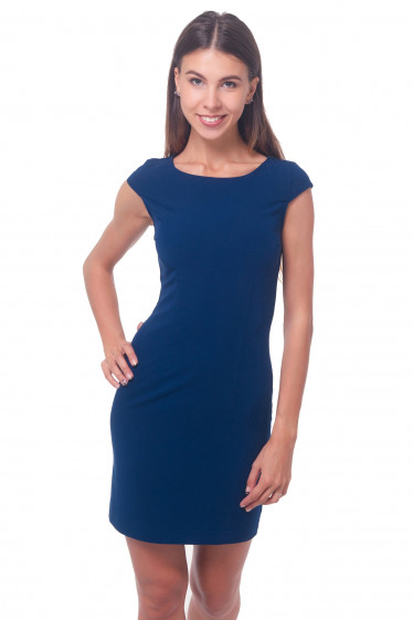 Платье синее строгое с рукавчиком Деловая женская одежда