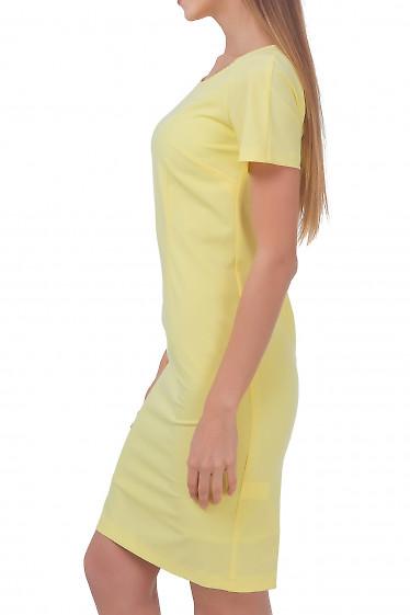 Платье желтое с рукавом Деловая женская одежда