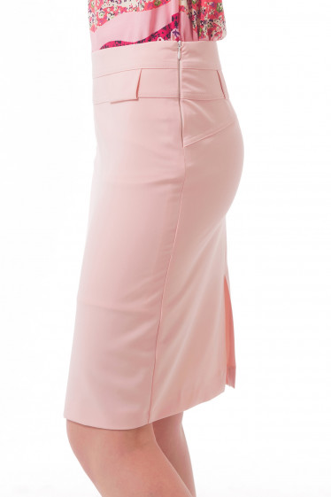 Купить юбку бледно-розовую с двойным поясом Деловая женская одежда