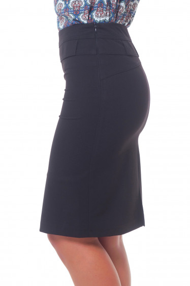 Купить юбка черная с фигурной кокеткой Деловая женская одежда