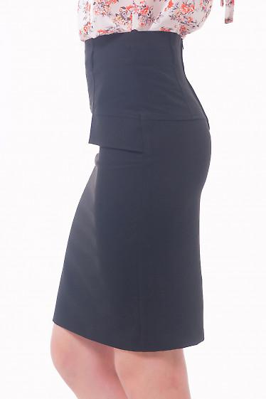 Купить черную классическую юбку с клапанами Деловая женская одежда