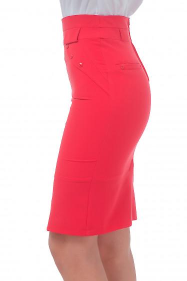 Купить юбку коралловую с клапанами Деловая женская одежда