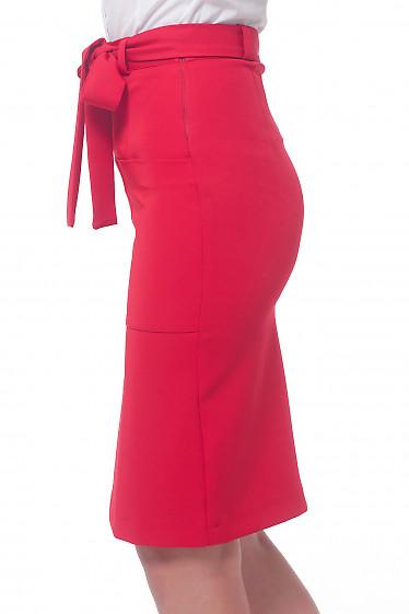 Купить юбку красную с накладными карманими Деловая женская одежда