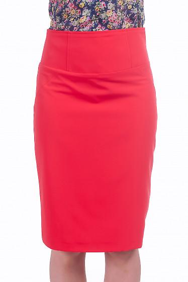 Фото Юбка с высокой талией красного цвета Деловая женская одежда