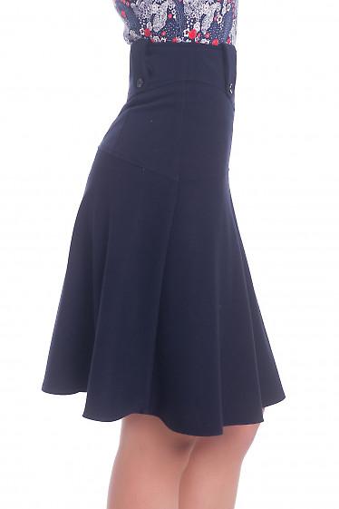 Купить юбку синюю на широкой кокетке теплую. Деловая женская одежда