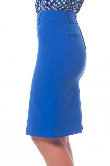 Купить юбку ярко-синюю с карманами Деловая женская одежда