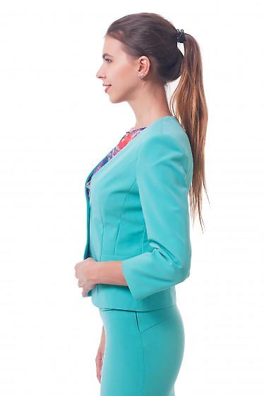 Купить жакет бирюзовый без воротника Деловая женская одежда