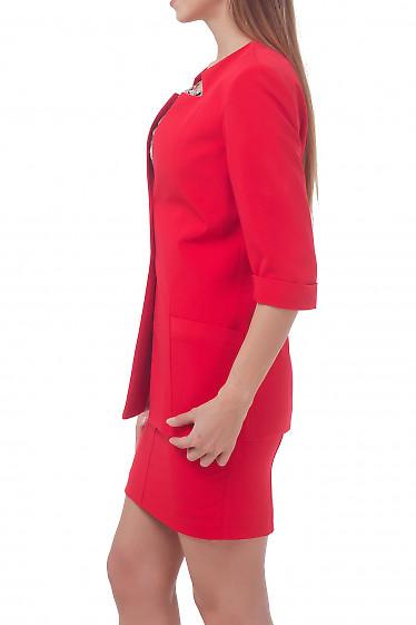 Купить жакет красный удлиненный с коротким рукавом Деловая женская одежда
