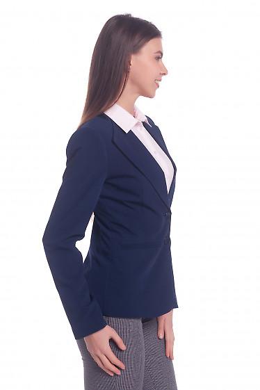 Купить жакет синий с латкой на плече. Деловая женская одежда