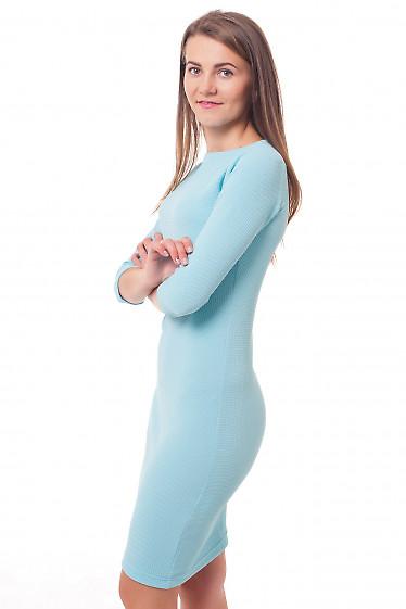 Купить платье трикотажное голубое Деловая женская одежда фото