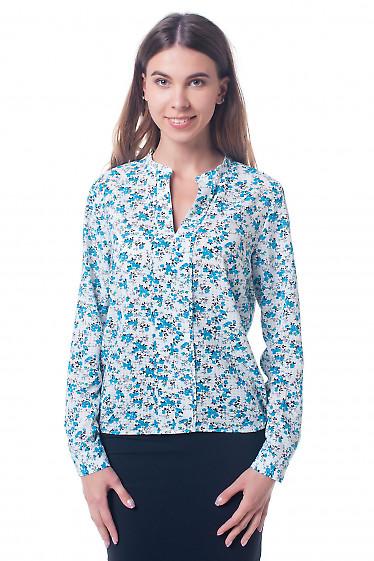 Блузка белая в цветок с резинкой сбоку Деловая женская одежда фото