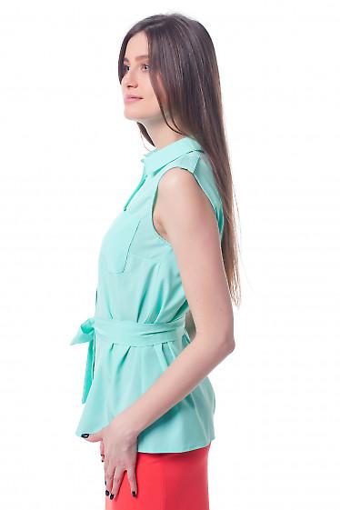 Купить бирюзовую блузку с карманами и поясом Деловая женская одежда фото