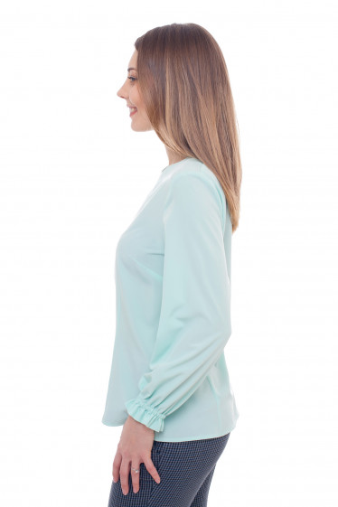 Купить бирюзовую блузку с резинкой на рукавах Деловая женская одежда фото