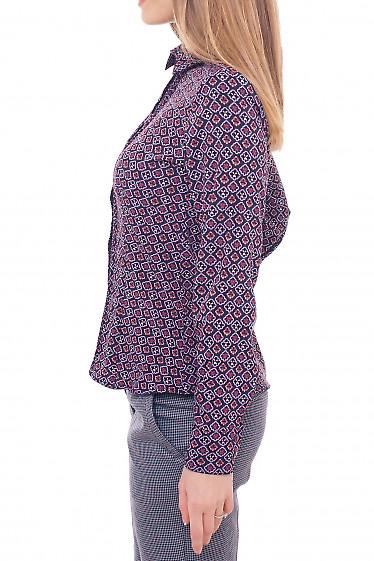 Купить бордовую блузку в ромбики Деловая женская одежда фото