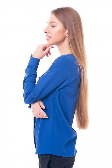 Купить блузку электрик с накладными карманами Деловая женская одежда фото