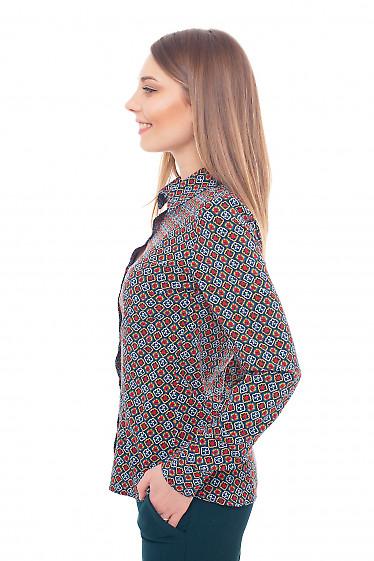 Купить блузку зелёную с красным узором Деловая женская одежда фото