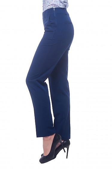 Купить синие женские брюки с молние сбоку Деловая женская одежда