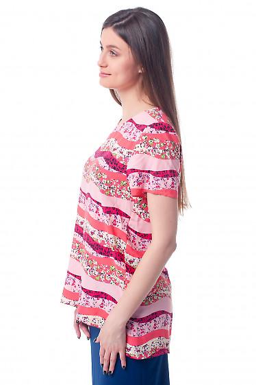 Купить футболку красную в цветочки Деловая женская одежда фото