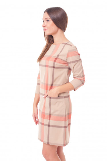 Купить платье бежевое в клетку Деловая женская одежда фото