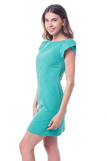 Купить платье бирюзовое с рукавом ракушка Деловая женская одежда фото