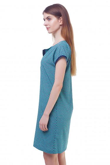 Купить платье бирюзовое с синей отделкой Деловая женская одежда