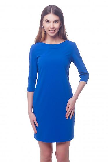 Платье электрик с круглой горловиной Деловая женская одежда фото