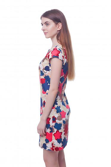 Купить платье летнее в крупные синие цветы Деловая женская одежда фото