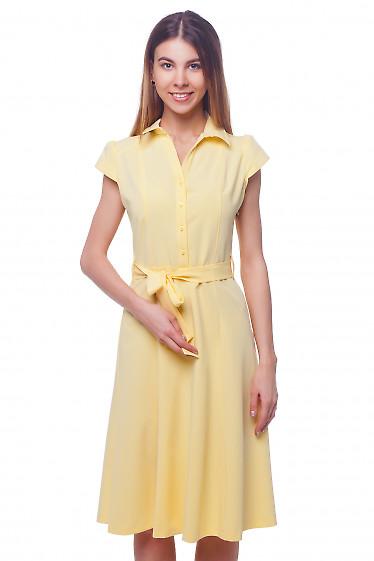 Платье миди желтое с коротким рукавом Деловая женская одежда