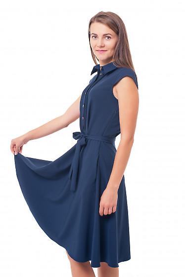 Купить платье с пышной юбкой и защипами синее Деловая женская одежда фото