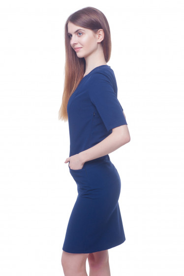 Купить синее платье с рельефами Деловая женская одежда фото