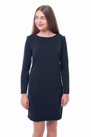 Платье темно-синее прямое Деловая женская одежда фото