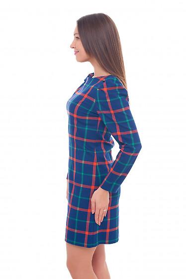 Купить платье теплое синее в оранжевую клетку Деловая женская одежда фото