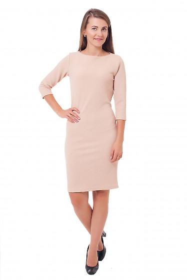 Купить платье трикотажное бежевое Деловая женская одежда фото