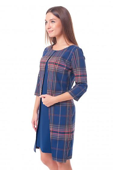 Купить платье в клетку с синей вставкой Деловая женская одежда фото