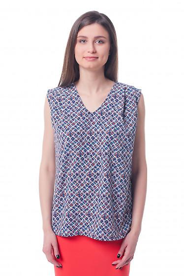 Топ в ромбы с защипами на плече Деловая женская одежда фото