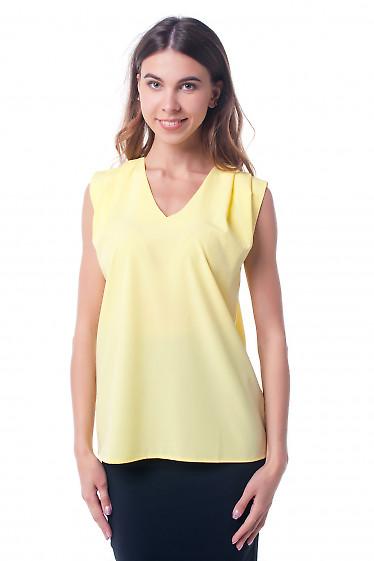 Топ желтый с защипами на плече Деловая женская одежда фото