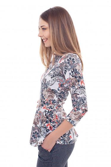 Купить трикотажную тунику с баской Деловая женская одежда фото