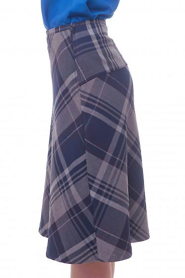 Купить юбку-трапецию в синюю клетку Деловая женская одежда фото