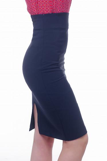 Купить юбку карандаш темно-синюю с высокой талией Деловая женская одежда фото