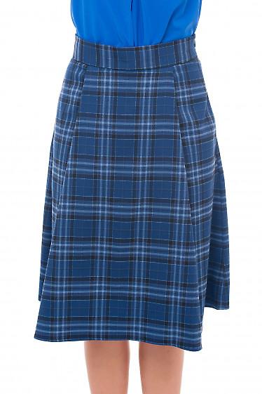 Юбка пышная синяя в клетку Деловая женская одежда фото