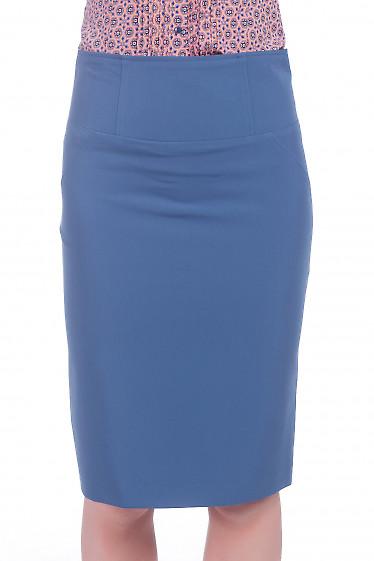 Юбка с высокой талией синего цвета. Деловая женская одежда фото