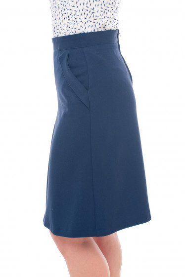 Купить синюю юбку с клапанами на карманах Деловая женская одежда фото