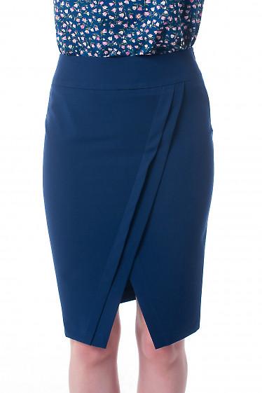 Юбка синяя с косыми складками Деловая женская одежда фото