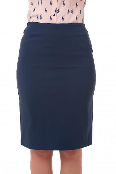 Юбка теплая классическая синяя Деловая женская одежда фото