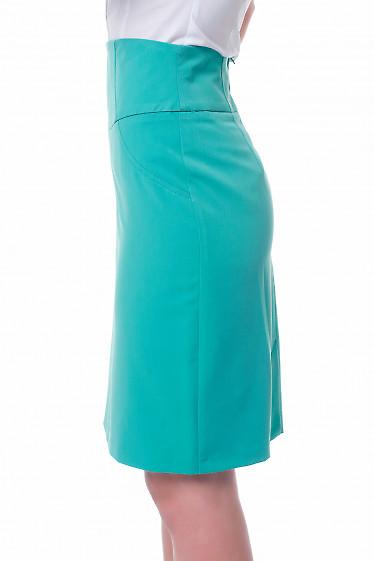 Купить юбку зеленую с высокой талией Деловая женская одежда фото